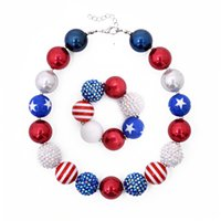 Girls Independence Day bead necklace 2pc set beaded necklace...