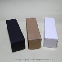 100pcs- 3.1 * 3.1 * 9.7 cm Boîte à papier Kraft boîte noire blanche pour 20 ml Compte-gouttes à huile essentielle vaporisateurs boîte-cadeau cosmétiques