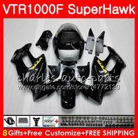 ホンダVTR1000Fの光沢のある黒いボディSuperHawk 97 98 99 00 01 02 03 04 05 91HM4 VTR 1000F 1997 1997 1998 2004 2004年フェアリング