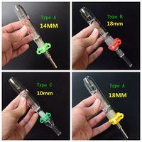 Kit Micro NC avec embout titane à clou en titane de 10/14 / 18mm en plastique Clip Keck Mini tuyaux en verre bang pipes en verre