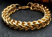 """الرجال 18 كيلو الذهب الأصفر الفولاذ المقاوم للصدأ 8 ملليمتر مربع المشبك ميامي الكوبي لينك Braceletb178-Gold لهجة الفولاذ المقاوم للصدأ 9 """"بوصة طول 6 ملليمتر العرض الرجال النساء"""