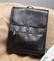 Original design brand men bags and soft college students wind leather bag leisure han edition men leather backpack outdoor leisure backpack