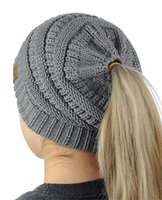 Womens CC Ponytail Caps Knitted Beanie Fashion Girls Winter ...