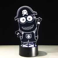 2017 Minions 3D Illusion Night Lamp 3D Optical Lamp AA Batte...