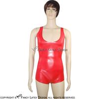Rouge Sexy Latex Catsuit Bondage caoutchouc fétichiste du corps Costume Plus Size 2017 cat Hot ventes costume LTY-0013