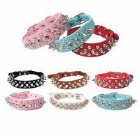 6 farben Einstellbare Leder Rivet Spiked Nieten Haustier Hundehalsband Kugel design Neck Strap kitty drop ship versorgung G480