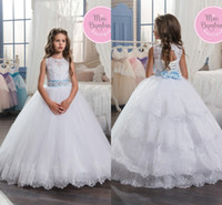 Girls Pageant Dresses 2017 White Tiered Ruffles Tulle Ball G...