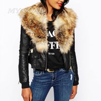 Atacado- inverno mulheres quentes casacos básicos casacos moda faux pu couro de couro slim overwear feminino manga comprida artificial casaco jaqueta de colarinho
