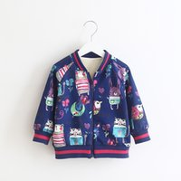 Animal Printings Bomer Jackets for Girls 2017 Winter Childre...