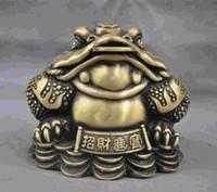 """9 """"China China Handmade Bronze Latão Estátua Dinheiro sapo Escultura"""