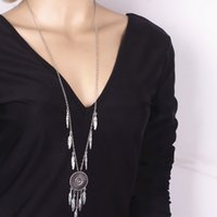 Dreamcatcher colliers Bohême Vintage Antique or / argent plaqué pendentif Jewerly femmes Fashion alliage plume colliers