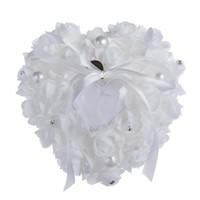 Crystal Pearl Bridal Ring Kussens Kristal Organza Satijn Kantdrager Ring Kussenslint Rose Flower Wedding Supplies Ringkussens 6 Kleuren