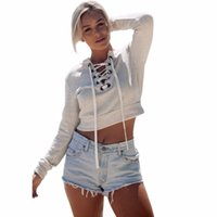 New Design Women Lady Casual Blouse Short Sweatshirt Lace up...