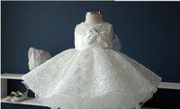 Edler weißes Chiffon Taufe Taufkleid, Neugeborenes Baby Mädchen großer Bogen Prinzessin Tutu Geburtstag Kleider für Hochzeit