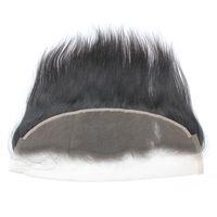 5pcs / lot HD / 투명한 13x4 끈 처녀 브라질 레미 인간의 머리카락 스위스 레이스 정면 1b 노 일 블랙 130 % 스트레이트 도매