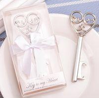 Abridor de garrafa de coração de venda quente na caixa de presente branca 100 pcs peculiar nova 'chave para o meu coração' abridor de garrafa favor do casamento JF-572