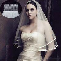 Due livelli tulle brevi veli da sposa 2019 vendita calda a buon mercato avorio bianco wedding accessorio da sposa per abiti da sposa a buon mercato netto di nozze in magazzino
