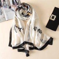 Sciarpa di seta pura Hijab Donne Soft Bianco Foulards Scialli Plus Size Hijab Sciarpe 2019 180 cm * 90cm SFN083