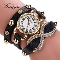 New Arrive Duoya Watches Women Gold Luxury Leather Band Brac...