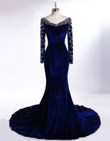 Robe Longue de Festa Para Casamento 2019 Royal Blue Velvet Robes de Soirée Sirène à Manches Longues Robe de Bal avec Cristaux