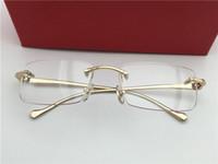 Receta montura de las gafas sin montura de los hombres de la moda del oro marcos de los vidrios con la caja