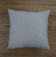 18 inç sqaure düz boyalı doğal keten süblimasyon boşlukları yastık kılıfı nakış için düz keten yastık kapak