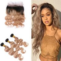 Ombre # 1B 27 Paquetes de cabello Honey Wave de Blonde Woman con Pre desplumado 360 Pacto de encaje Full Frontal con Baby Hair