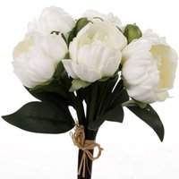 Upscale Blanc Rose 8 Fleurs Têtes Bouquet de mariée Pivoine Artificielle Real Touch Flowers Accueil Wedding Party Decoration Supplies