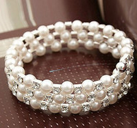 Three Rows Faux Pearls Crystal Bracelets Bridal Accessories ...