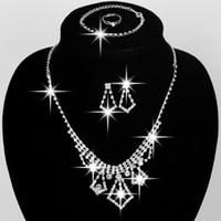Alta qualidade nupcial conjunto de jóias de casamento acessórios colar brincos pulseira anel com strass bidal moda conjuntos de jóias # bw-js011