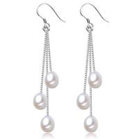 Pendientes de gota de agua dulce natural blanco de 7-8mm Pendientes de plata 925 Pendientes de gota de 3 perlas