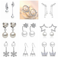 18 styles 925 sterling Silver Pearl rhinestone Rhodium Plated Hoop Stud Earrings Fashion Hot sell Jewelry for women High quality C634