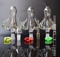 2017 Nectar Collector Set 문어 디자인 14mm Nectar Collecter 키트, 티타늄 못 미니 Glass Water Pipes Bong