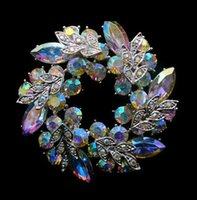 Fashion Unique Style Clear AB Color Rhinestone Crystal Wrealth Broches