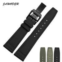 Jawerver pulseira 20 21 22mm aço inoxidável fivela de implantação preto verde nylon com pulseira de relógio de couro inferior para pa ...
