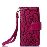 다기능 지갑 가죽 플립 케이스 삼성 갤럭시 S7 S6 에지 아이폰 커버 레트로 양각 절반 꽃 꽃 전화 케이스