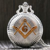 Gros-Mode Argent Or Maçonnique Free-Mason Freemasonry Thème Montre De Poche Avec Chaîne Collier Meilleur Cadeau Pour Hommes Femmes