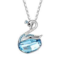 de alta calidad de marcas famosas joyas de diseño para llenado de color collar pendiente del cisne de oro fiesta de la boda hecha con elementos de cristal de Swarovski