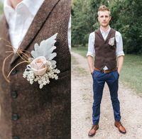 2021ファームダークブラウングロールベストウールヘリンボーンツイードカスタムメイドの新郎の服装スリムフィットメンズドレスプロムの結婚式ウィストコートプラスサイズ
