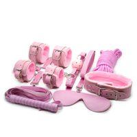 Bondage set 8 pcs para jogos de sexo preliminares rosa algemas de pelúcia venda cruz algemas tornozelo gola de manga de couro chicote bola mordaça 5 cm corda BDSM