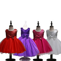 4 Colors Girls Party Wear cake Dress Kids New Sequins Childr...