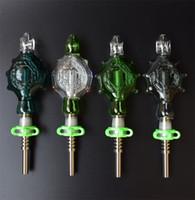 Kit de colgantes de Perc con tubos de fumar de vidrio de Uñas de titanio de 14 mm Bongs de vidrio plataforma petrolera refrigerado por agua y a prueba de derrames
