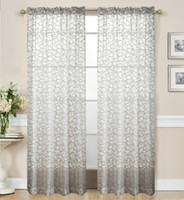 Blooming Design Fashion Rod Pocket Curtain Eyelet Hooks Style Window Sheer  2 Panels Finished Curtain Print Style Blackout Curtain