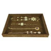 High Quality Velvet Jewelry Display Case Brown Necklace Bracelet Storage Organizer Tray Set Jewelry Display Flat Tray 35*24*3cm