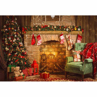 Indoor Merry Christmas Fireplace Background Vintage Computer...