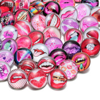 50pcs lot Mixed Sexy Red Lips Lipstick Pattern Glass Snap Ch...