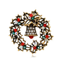 새로운 도착 크리스마스 보석 여러 가지 빛깔의 라인 석 화환 종은 여성을위한 골동품 금 /은 합금 잎 브로치 고교 핀을 브로치