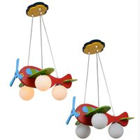 Modern Kid' s Bedroom Wooden Airplane Pendant Lamp Child...