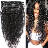 Cheap Afro Kinky Curly Clip In Human Hair Extensions Brazili...