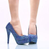 2017 Grande Taille 45 Femmes Chaussures Habillées Royal Bleu AB Strass Chaussures De Fête De Mariage À La Main D'anniversaire De Bal Prom Talons De Mariée Pompes